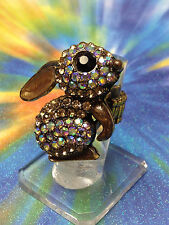 RABBIT BUNNY EARS MOVE GOLD RING w/ IRIDESCENT STONES LADY STRETCH SIZE 7 8 9 10