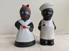 Vintage Pair Of Black Americana Cooking Salt & Pepper Shakers