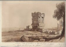 "Claude Lorrain's - Antique Aquatint Print by Lewis - ""STATUE""  -1837"