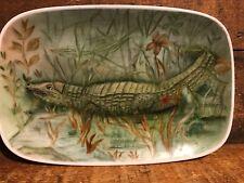 Vintage 1978 Edna Metz Hand Painted Porcelain Plate Alligator Reptile Crocodile