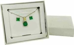 EMERALDS 1.90 Cts & WHITE SAPPHIRES SET .925 Silver (Yellow) *NEW WITH TAG & BOX