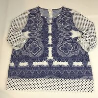 Chico's Women's Size 1 (Medium) Top Blue White Paisley Polka Dots 3/4 Sleeve