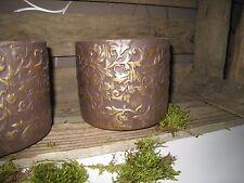 Blumentopf Vase Pflanztopf Übertopf braun gold Blüte Herbst Deko Shabby Antik
