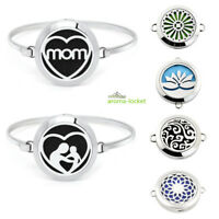 Steel Stainless Essential Oils Aromatherapy Locket Diffuser Bangle Bracelet DIY