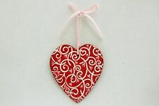 Red Heart Clay Ornament Valentine's Day Decoration - Handmade