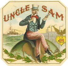 Uncle Sam smoking sitting on globe  cigar label