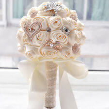 Champagne Crystals Satin Roses Wedding Brooch Bridal Bouquet Bride Hand Flower