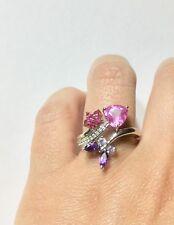 Multi-Gemstone Pink Heart, Purple Butterfly & Red Flower Ring in Sterling Silver