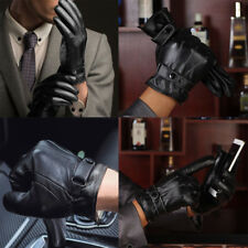 Men Winter Warm Black Leather Touch Screen Gloves Full Finger Motorcycle Mitten