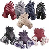 Women Girl Genuine Lambskin Leather Gloves Winter Warm Driving Soft Lining Pair