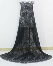 LOT 1.5 Meters Black French Chantilly Eyelash Double Edge Lace Fabric For Dress