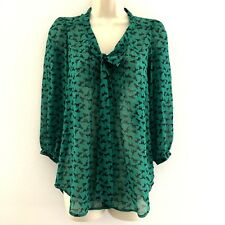 Tunic Top Sz XS sheer pleated tie front green horses button down xhilaration