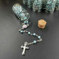 12 Rosary in Glass Bible Cross Blue Beads CATHOLIC Mary Crucifix Necklace Bottle
