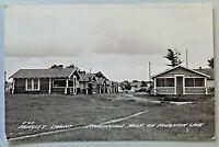 Pringle's Cabins Prudenville Michigan on Houghton Lake 1944 RPPC Postcard 3909