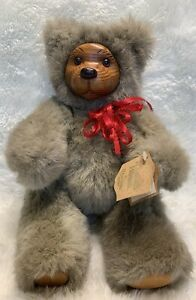 Vintage Robert Raikes Bear, Cookie, With Tags, Wooden Face and Feet