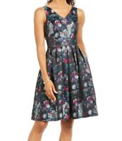 Tahari by ASL Womens ALine Dress Magenta Black Size 12 Pleated V-Neck $148 123