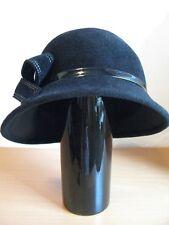 Cloche Hat 20's Style Big Bow Italian Made Genuine Rabbit Fur