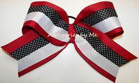 Red Black Cheer Bow 6 Inch Ribbon Arkansas Razorbacks Spirit Softball Volleyball