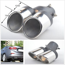Twins Rear Bent Stainless Steel Car Exhaust Dual Pipe Chrome Tail Muffler Tip