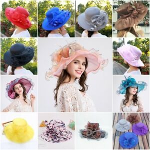 Elegant Women Wide Lace Brim Kentucky Derby Sun Hat Summer Beach Lady Church Cap