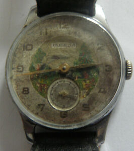 """rare""""POBEDA"""" - with painted face-USSR  RUSSIAN WRIST WATCH"""