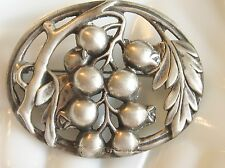 LARGE OVAL SOLID CAST 925 STERLING SILVER POMEGRANATE FRUIT ON BRANCH PIN BROOCH