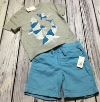 Baby Gap Boys 12-18 Months 2-Piece Outfit. Shark Shirt & Aqua Blue Shorts. Nwt