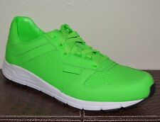 NIB GUCCI $660 MENS NEON GREEN LEATHER TENNIS LOW TOP SNEAKERS US 11.5 EU 44.5