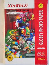 20 Sheets A6 6x4in Premium Glossy Photo Paper 210gsm - Printer Inkjet Laser Jet