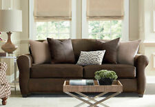 Sure Fit Stretch Leather 3 Piece Love Seat Box Cushion in Brown