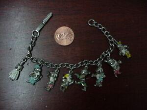 WALT DISNEY PRODUCTIONS  30-40s Snow White & Seven Dwarfs Vintage Charm Bracelet
