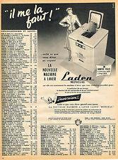 PUBLICITE ADVERTISING 025  1954  LADEN  MONCEAU   lave- linge machine à laver