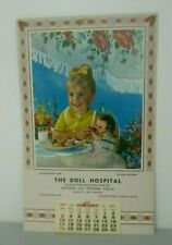 The Doll Hospital Clinic Restoration of Antique Dolls Tea for Two Calendar 1971