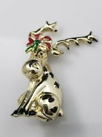 Vintage Christmas Reindeer Brooch Pin Sitting Red Green Enamel Bow Gold Tone