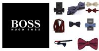 HUGO BOSS silk dickie bow tie black blue grey brown wedding prom suit tux shirt