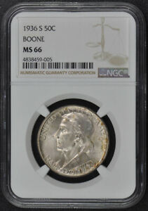 BOONE 1936-S Silver Commemorative 50C NGC MS66