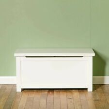 London White Blanket Box Painted Solid Wood Ottoman Chest Toy Storage Trunk Oak