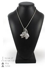 Doberman pincher - silver plated necklace on silver cord, Art Dog USA