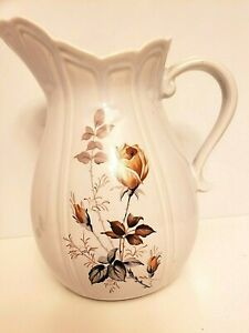 """Vintage McCoy Pottery 9"""" Pitcher White Floral Brown Rose with Thorns Beautiful"""