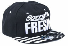 Herren Cappy Cap Basecap Flat Brim Snapback Sorry Im Fresh Schwarz weiss US  Stil 3f03d933ae