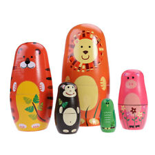 5pcs Matryoshka Animal Russian Doll Cute Wooden Nesting Dolls Toy Kids Gift UK