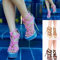 NEW Strappy Open Toe Stilettos Stripper Shoes High Heels Platform Pumps Size H19