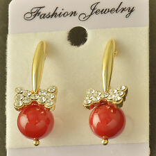 Elegant 14K Yellow Gold Filled Red Pearl CZ Womens Stud earing  Free Shipping