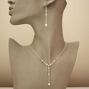 Silver wedding bridal cream pearl necklace long earring bridesmaid jewellery set