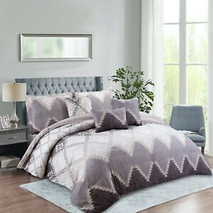 Rainbow Collection Luxury 7-Piece Chevron Leaf Comforter Set Queen/King/Cal King