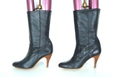 Women's Vintage DR ADAM'S Pull On Slouch High Heel Black 100% Leather Boots UK6