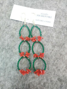 orecchini pendenti swarovski verde smeraldo con corallo naturale e argento 925