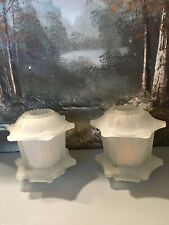 Vintage Homco Frosted Glass Oriental Pagoda Fairy Lamp Candle Holder Pair (2) 5""