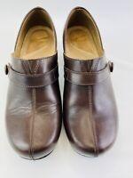 Dansko Solstice Women's Size 40 / 9.5 Brown Leather Slip On Split Toe Clog Shoes