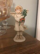 "Schmid Girl Angel w/Flowers Bisque Figurine by B. Shackman 1986 4.5"" H Vgc"